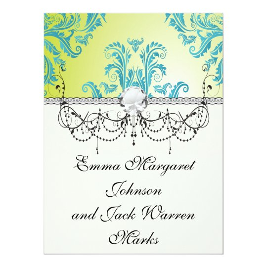 turquoise and lime green ornate damask card