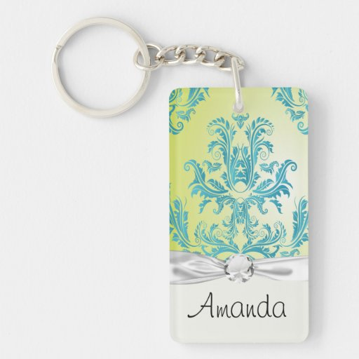 turquoise and lime green ornate damask rectangle acrylic key chains
