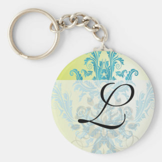 turquoise and lime green ornate damask keychains