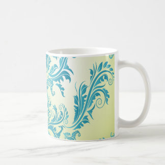 turquoise and lime green ornate damask classic white coffee mug