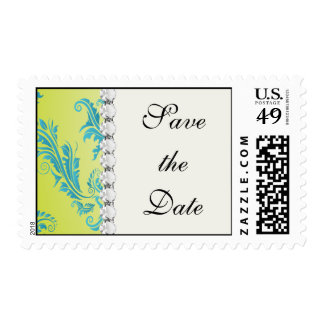turquoise and lime green ornate damask postage stamp