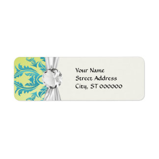turquoise and lime green ornate damask return address label