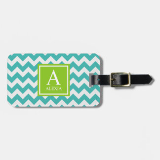 Turquoise and Lime Monogram Chevron Print Tag For Luggage