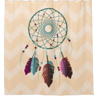 Turquoise and Maroon Dream Catcher Chevrons Shower Curtain
