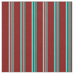 [ Thumbnail: Turquoise and Maroon Pattern of Stripes Fabric ]
