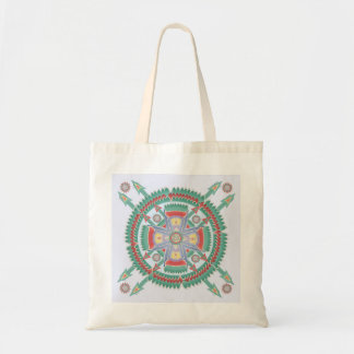 Turquoise and Melon Tribal Mandala Tote Budget Tote Bag