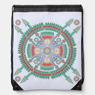 Turquoise and Melon Tribal Motif Backpack
