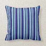 [ Thumbnail: Turquoise and Midnight Blue Lines/Stripes Pattern Throw Pillow ]