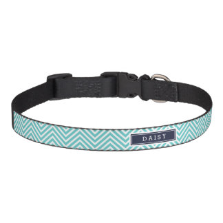 Turquoise and Navy Blue Chevron Monogram Pet Collar
