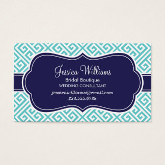 Turquoise and Navy Blue Greek Key Pattern Business Card