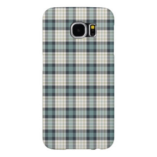 Turquoise and Navy Blue Rustic Plaid Samsung Galaxy S6 Case