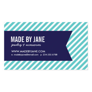 Turquoise and Navy Modern Stripes Social Media Double-Sided Standard Business Cards (Pack Of 100)
