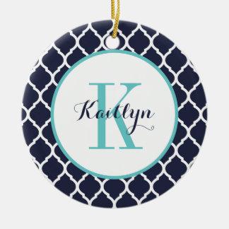 Turquoise and Navy Preppy Quatrefoil Monogram Ceramic Ornament
