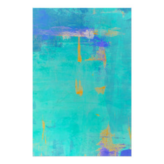 Turquoise and Orange Abstract Art Poster Print