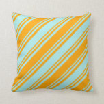 [ Thumbnail: Turquoise and Orange Colored Lines Pattern Pillow ]