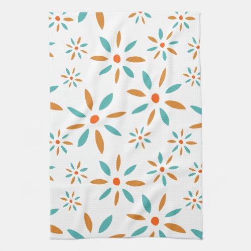 Turquoise And Orange Flowers Mid Century Modern Kitchen Towel