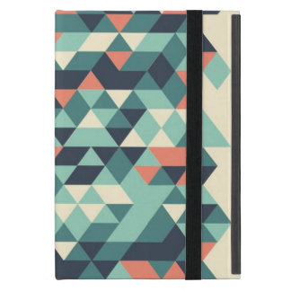 Turquoise and Orange Geometric Triangle Pattern Cases For iPad Mini