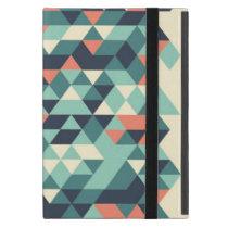 Turquoise and Orange Geometric Triangle Pattern Cover For iPad Mini