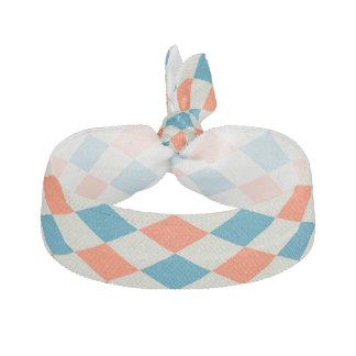 turquoise and orange harlequinn diamond pattern hair tie