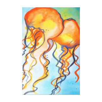Turquoise and Orange Jellyfish Canvas Print
