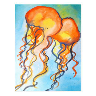 Turquoise and Orange Jellyfish Postcard