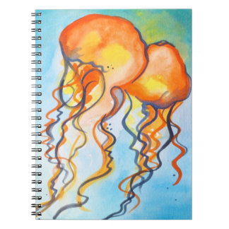 Turquoise and Orange Jellyfish Spiral Notebook