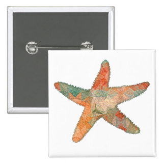 Turquoise and Orange Mosaic Starfish Pinback Button