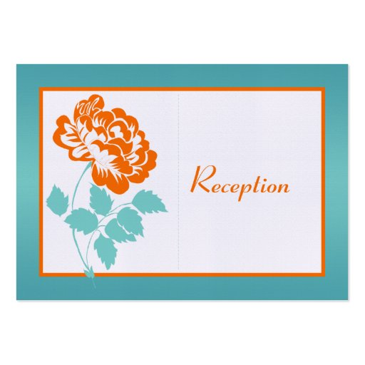 Turquoise and Orange Peony on Linen Enclosure Card Business Card Template