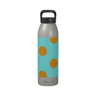 Turquoise and Orange Polka Dots Drinking Bottle
