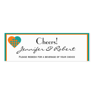 Turquoise and Orange Ribbon Weave Heart Drink Double-Sided Mini Business Cards (Pack Of 20)