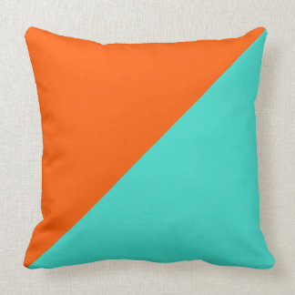 Turquoise and Orange Solid Color Background #2 Throw Pillow