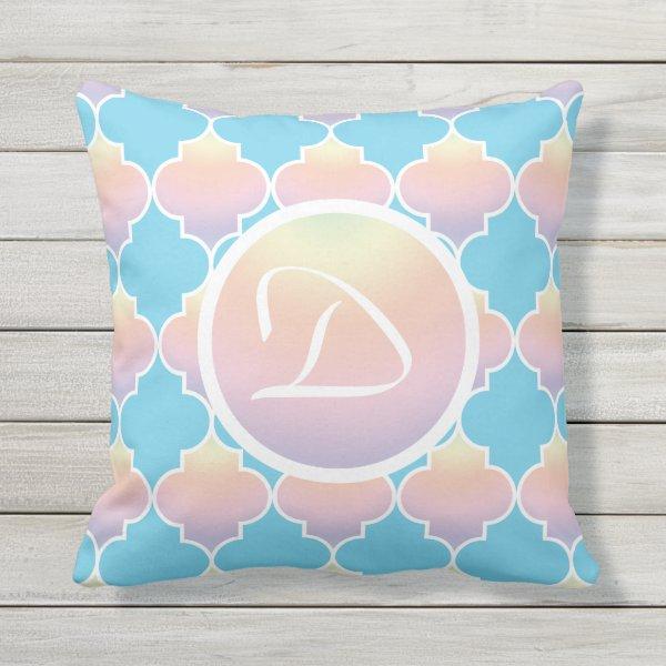 Turquoise And Pastel Quatrefoil Monogram Outdoor Pillow