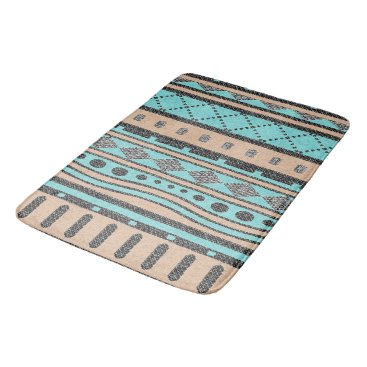 Aztec Themed Turquoise And Peach Aztec Pattern Bathroom Mat
