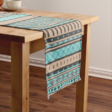 Aztec Themed Turquoise And Peach Aztec Pattern Short Table Runner