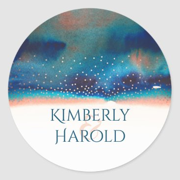 Beach Themed Turquoise and Peach Starry Modern Watercolor Classic Round Sticker