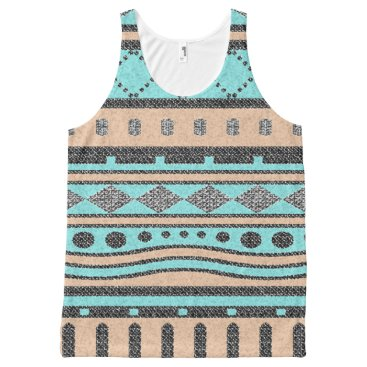 Aztec Themed Turquoise And Peach Tribal Pattern All-Over-Print Tank Top