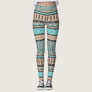 Aztec Themed Turquoise And Peach Tribal Pattern Leggings