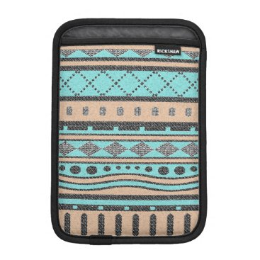 Aztec Themed Turquoise And Peach Tribal Pattern Sleeve For iPad Mini