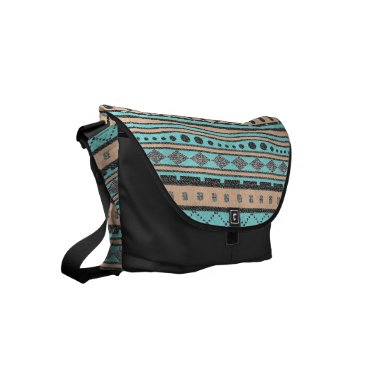 Aztec Themed Turquoise And Peach Tribal Pattern Small Messenger Bag