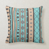 Turquoise And Peach Tribal Pattern Throw Pillow
