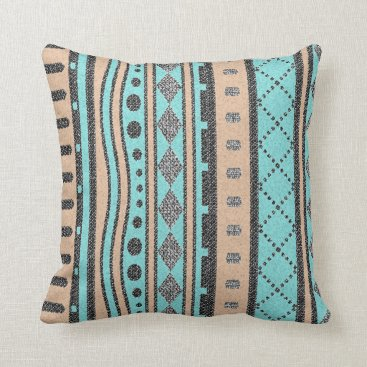 Aztec Themed Turquoise And Peach Tribal Pattern Throw Pillow