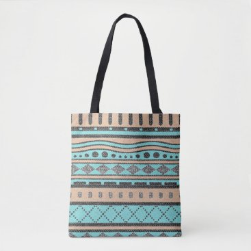 Aztec Themed Turquoise And Peach Tribal Pattern Tote Bag
