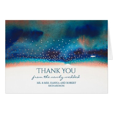 Beach Themed Turquoise and Peach Watercolor Swash Thank You Card