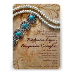 Turquoise and Pearls Rustic Wedding Invitations