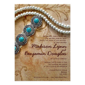 Turquoise and Pearls Rustic Wedding Invitations Personalized Invites
