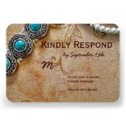 Turquoise and Pearls Wedding RSVP Cards