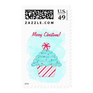 Turquoise and Peppermint Cupcake Merry Christmas Stamp