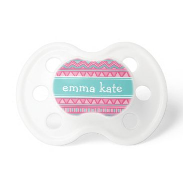 Aztec Themed Turquoise and Pink Aztec Chevron Custom Monogram Pacifier
