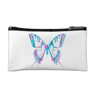 Turquoise and Pink Butterfly Cosmetic Bags