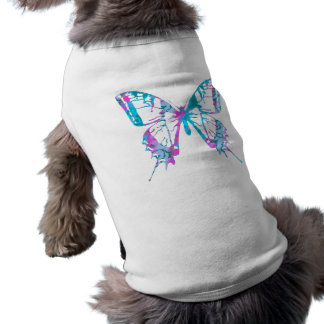 Turquoise and Pink Butterfly Dog Tee